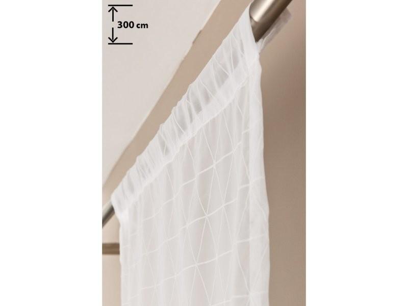 panneau japonais 60 x 300 cm passe tringle bande velcro style scandinave motif geometrique blanc