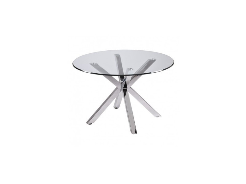 table ronde en verre pieds chromes idol 120 cm