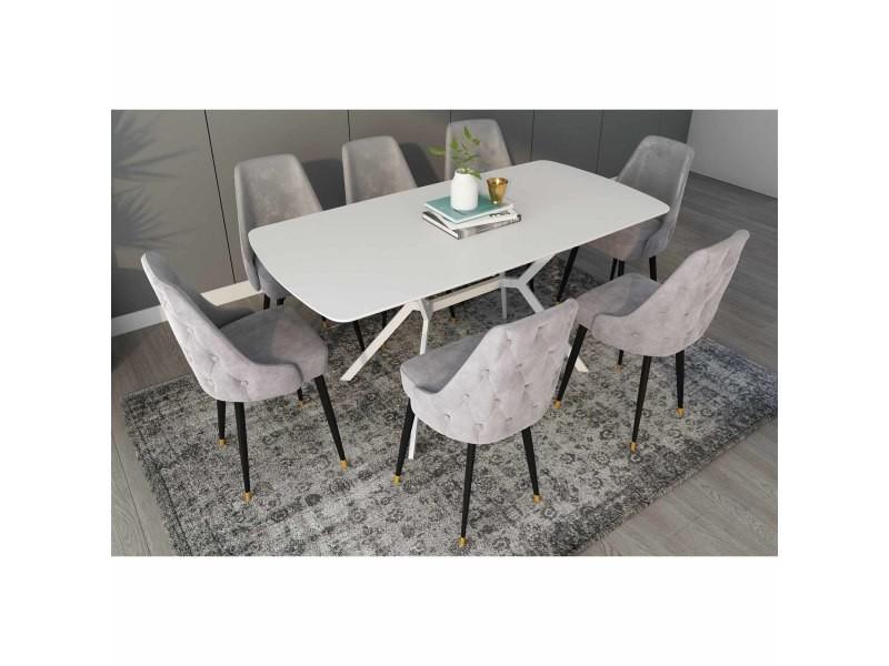 table a manger extensible laque blanc pieds metal 4 6 personnes araxie