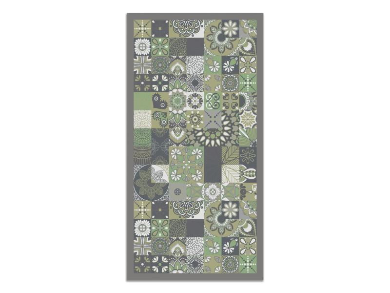 panorama tapis du sol vinyle carreaux ciments cuisine vert 60 x 110cm tapis de cuisine en pvc linoleum vinyle antiderapant lavable ignifuge tapis