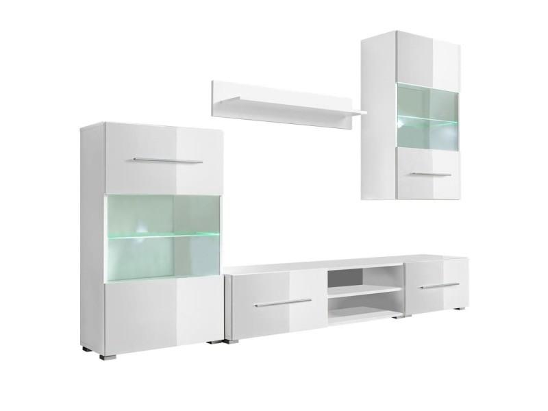 vidaxl meuble tv mural avec eclairage led 5 pieces blanc