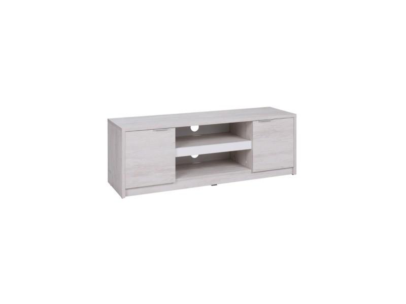 furnix meuble tv banc tv classique dothan blanc avec 2 portes