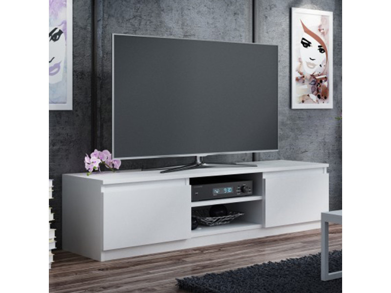 meuble tv banc tv clino 140 cm blanc style contemporain