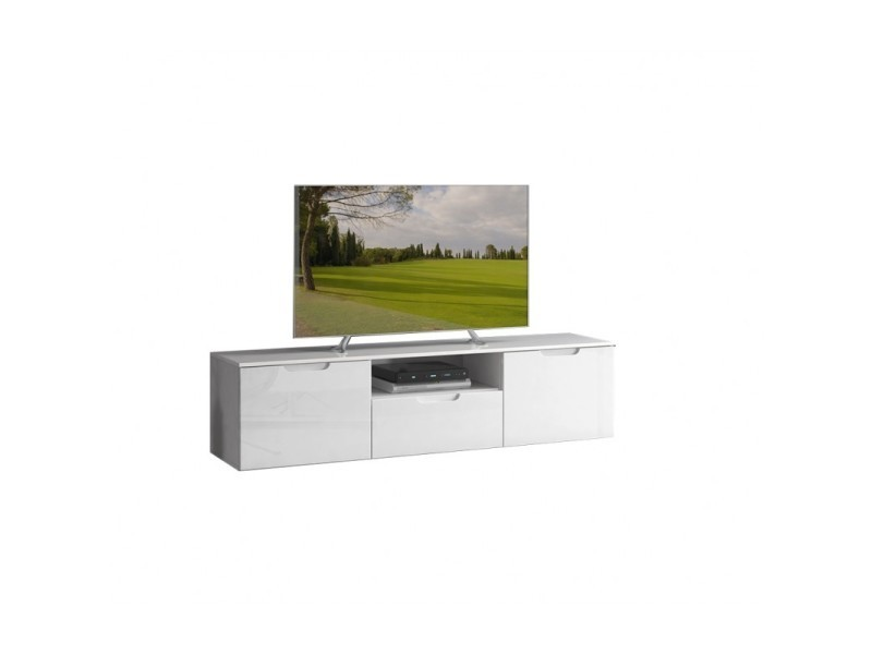 meuble tv blanc laque 2 portes 1 tiroir pure