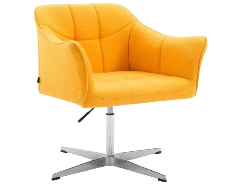 fauteuil de bureau ergonomique sans roulettes en tissu jaune hauteur reglable fal10040