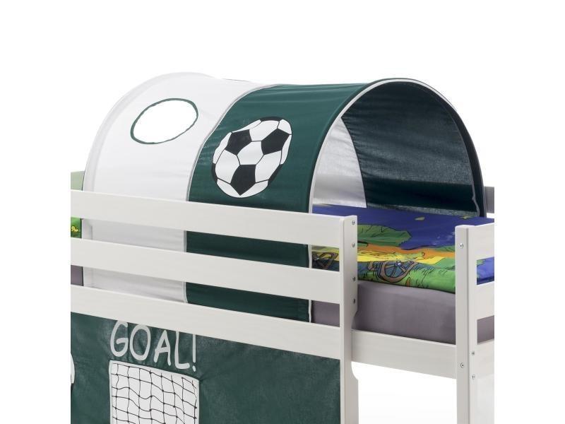 tunnel tente cabane pour lit sureleve coton motif foot vert blanc