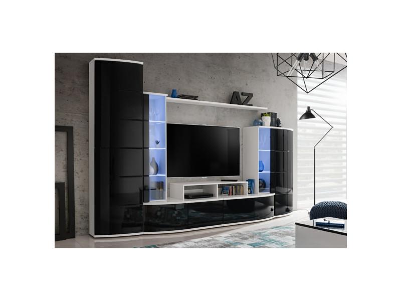 ensemble murale meuble tv leave blanc et noir