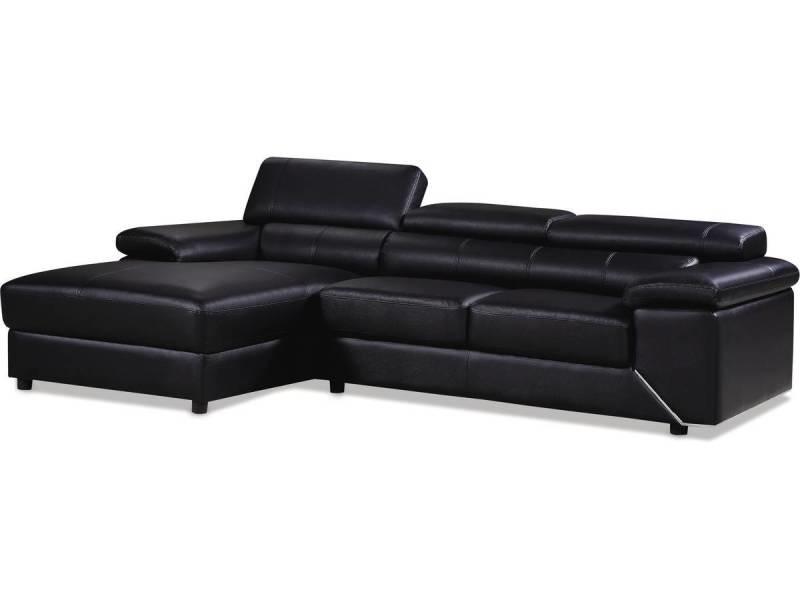 canape d angle en cuir reconstitue pvc london 4 places noir angle gauche vente de canape d angle conforama