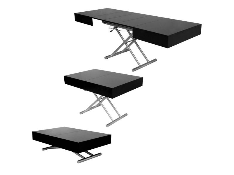 table basse relevable extensible laquee noir smart xxl