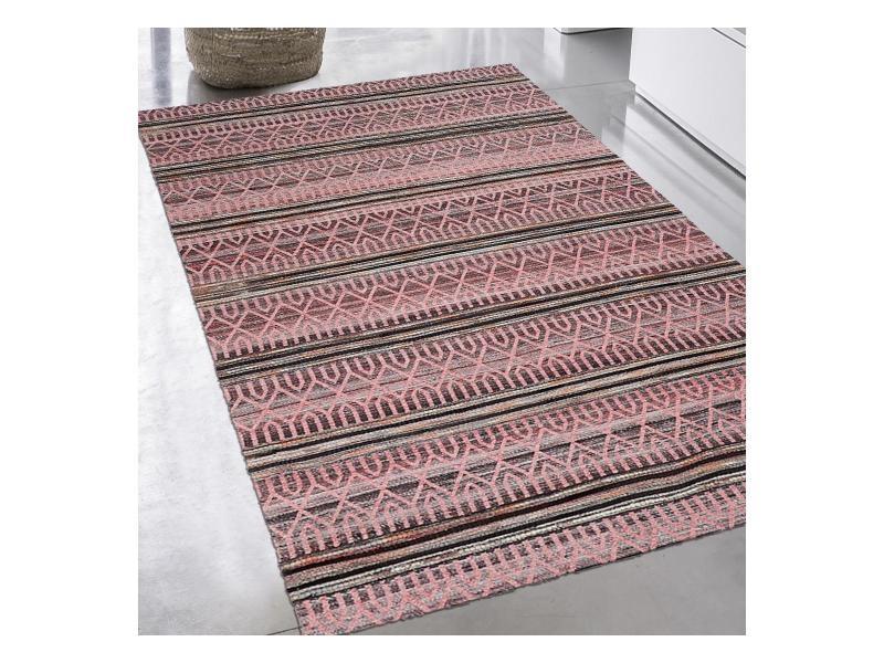 tapis design et moderne 80x150 cm rectangulaire vorela rose chambre tisse a la main adapte au chauffage par le sol