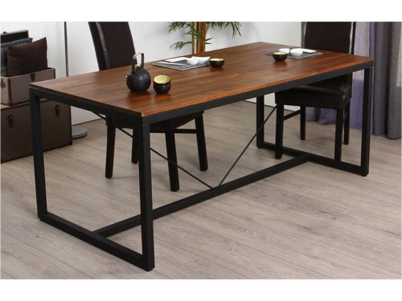table a manger pieds de table en metal et plateau en bois h90 x p75 x l180cm pegane