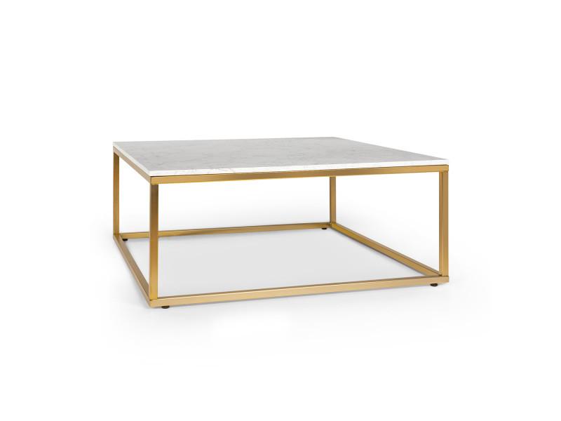 besoa white pearl 2 table basse de salon 81 5 x 35 x 81 5cm lxhxp design marbre dore blanc