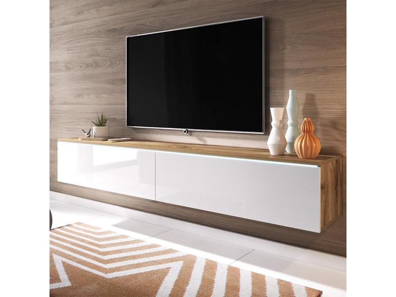 meuble tv kane 180 cm chene wotan blanc brillant avec led