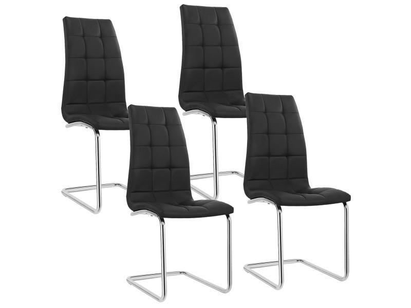 lot de 4 chaises noir design matelasse mega