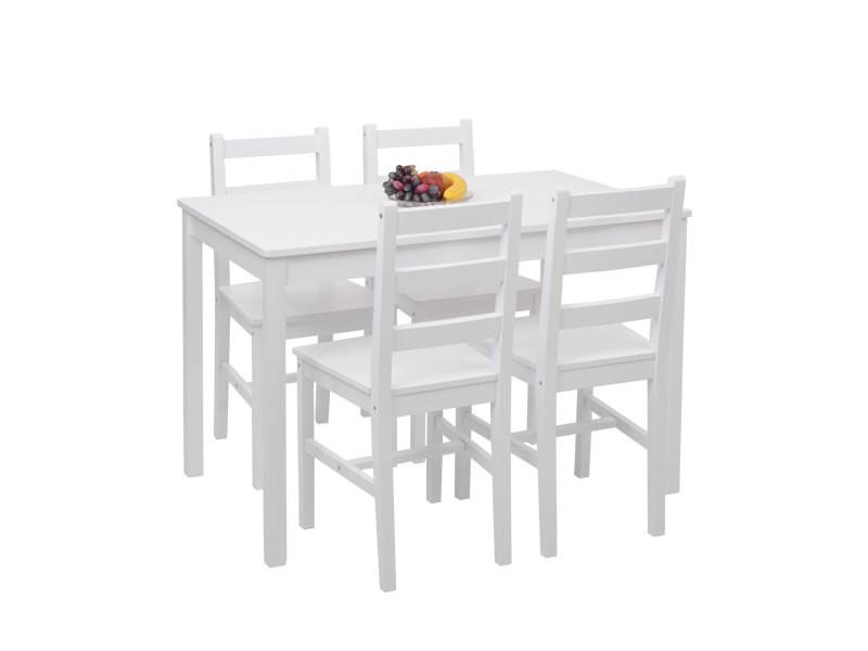 ensemble de salle a manger hwc f77 coin salon style rustique cottage en bois massif 110 cm blanc