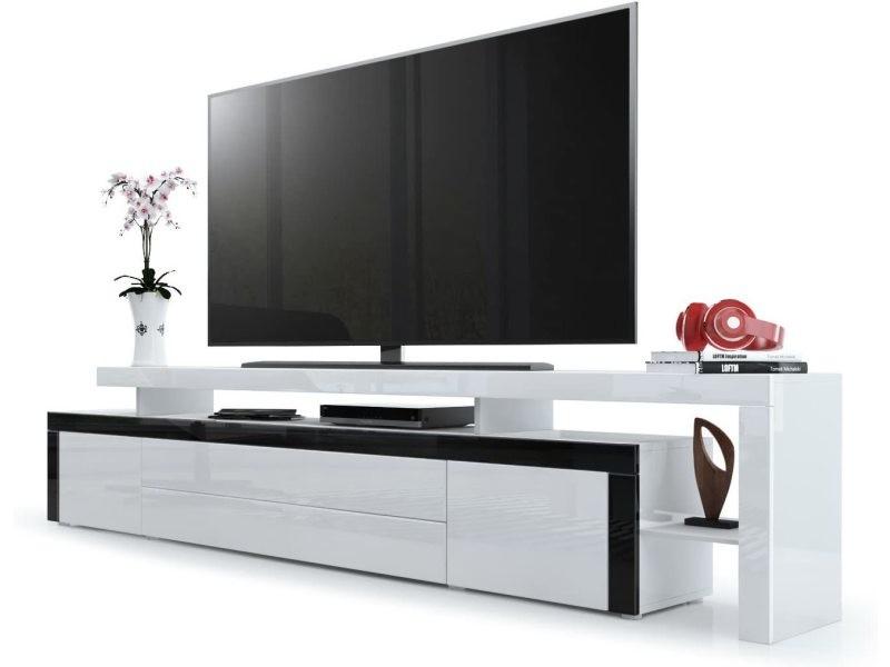 meuble tv noir blanc laque 227 cm