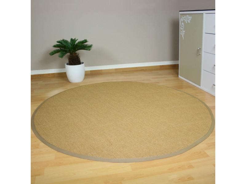 tapis de sisal fibre naturelle ronde naturel 120 cm pegane