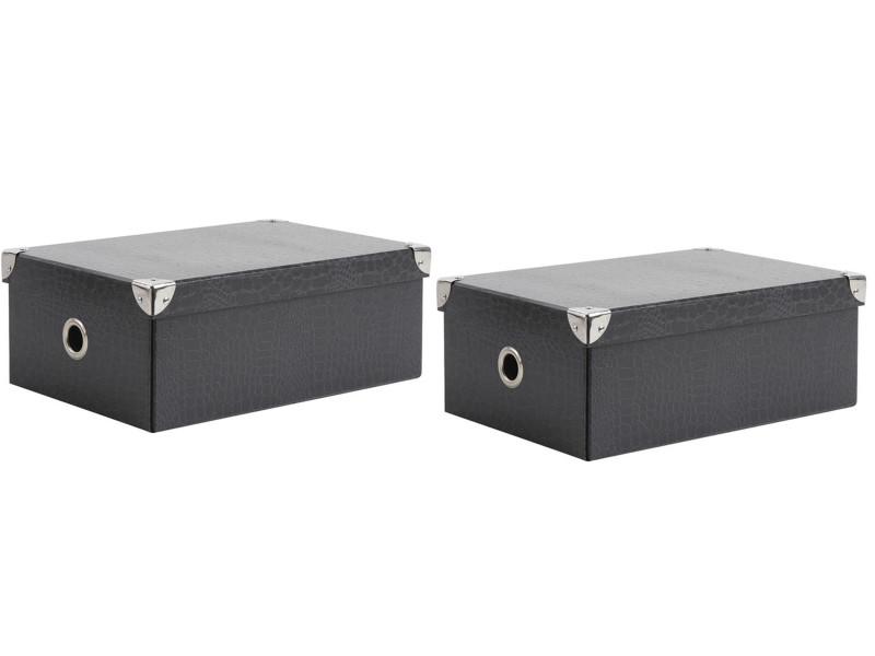 lot de 2 boites de rangement pliables en carton laque noir et gris dim 32 x 21 x 12 cm pegane