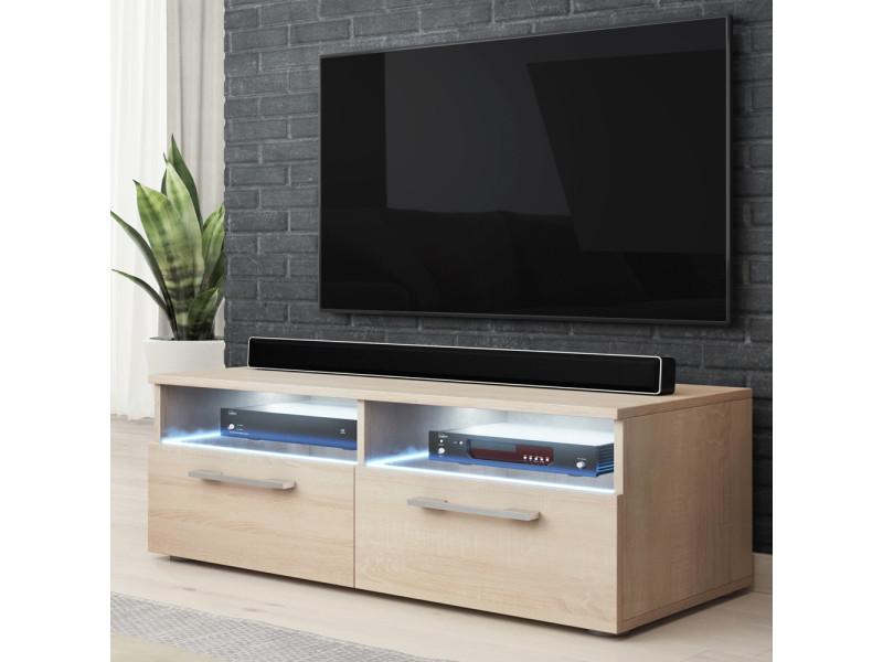 meuble tv silver 100 cm chene sonoma clair avec led