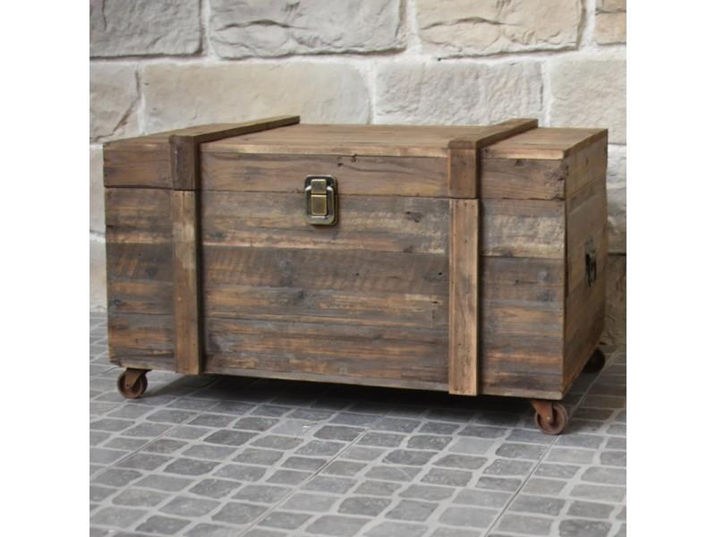 grand coffre en bois malle a roulettes style ancien 90 cm x 56 cm x 55 cm
