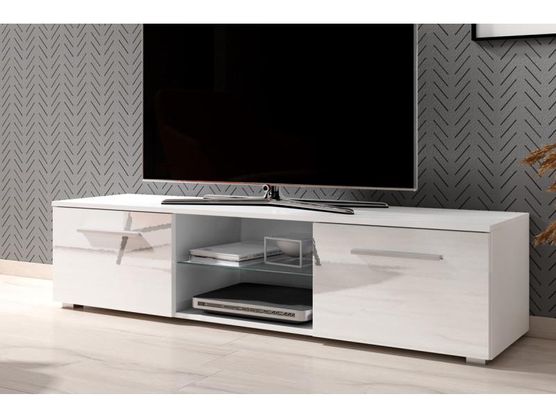 meuble tv banc tv tenus 140 cm blanc mat blanc brillant sans led