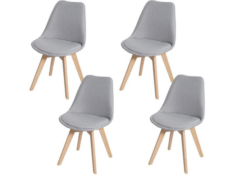 lot de 4 chaises scandinave en tissu gris et pieds bois clair cds04533