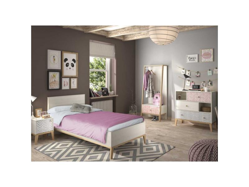 chambre enfant complete 120 200 bois blanchi solveig l 129 x l 210 x h 86 neuf