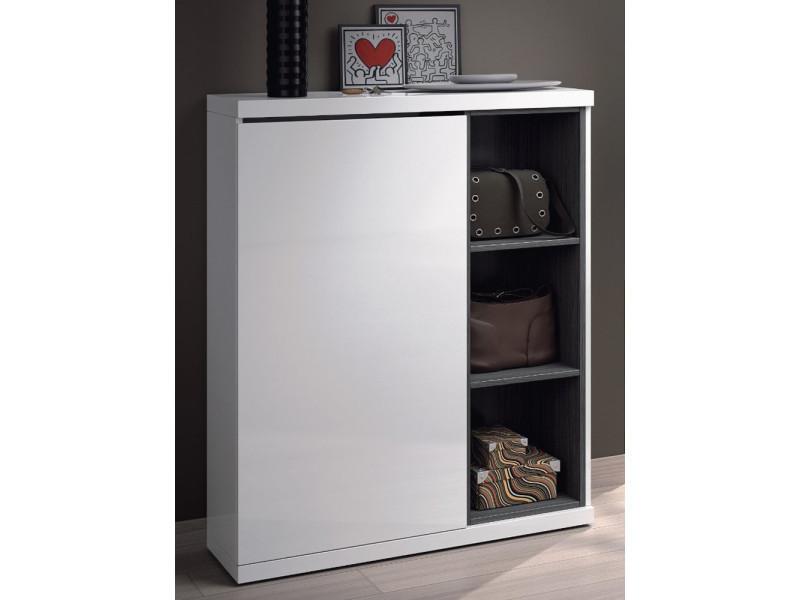 meuble a chaussures avec 1 porte et 3 etageres coloris blanc brillant 108 x 79 x 25 cm pegane