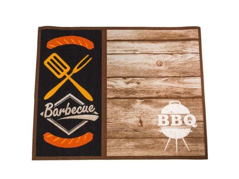 tapis pour protection barbecue a l aspect bois 80x100cm
