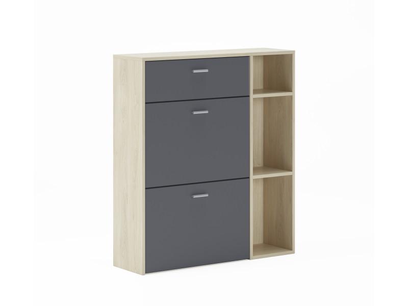 meuble a chaussures wind couleur structure puccini couleur gris anthracite sur les 2 portes basculantes et tiroir mesure 90x26x101 5cm de haut