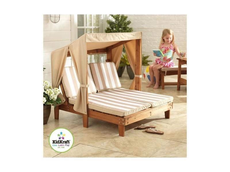 double chaise longue avec porte gobelets espresso avec coussins ecru et blanc