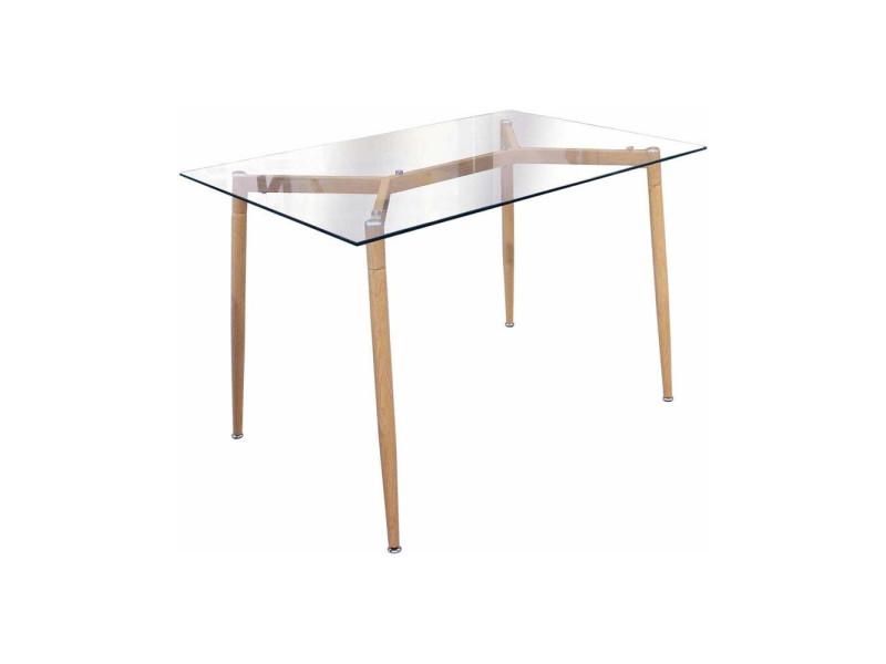 table verre pied bois