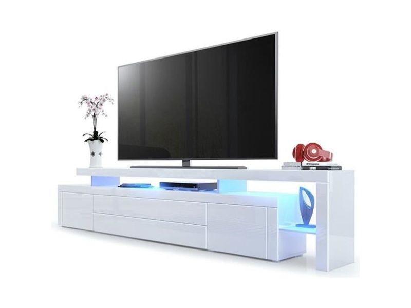 meuble tv blanc laque 227 cm avec led