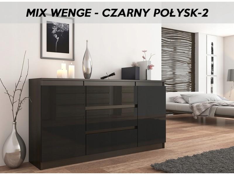 albi 2w commode tendance meuble rangement chambre salon bureau 140x40x76 3 tiroirs 2 portes buffet dressing chiffonier wenge noir gloss