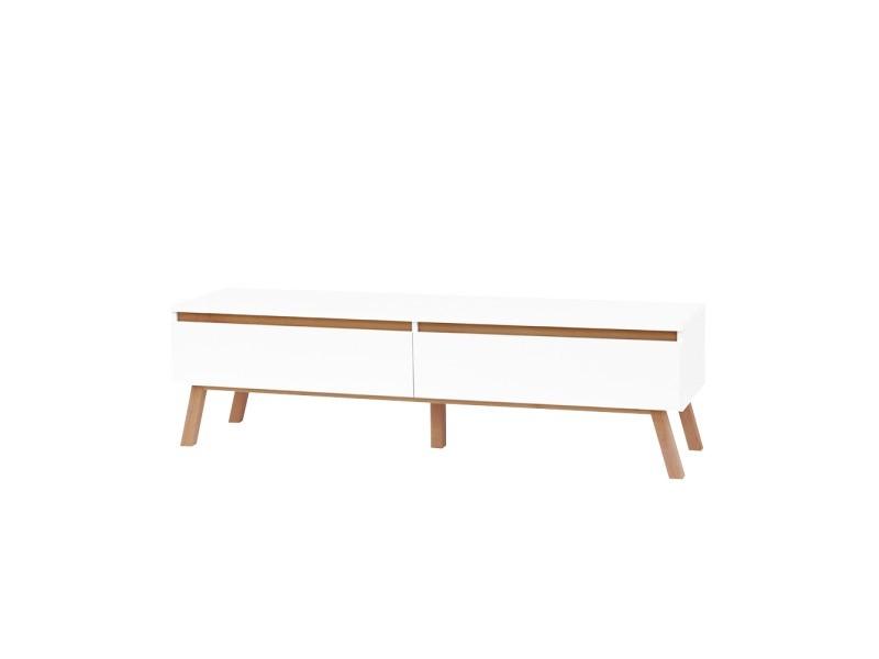 meuble tv thorita 138 2 cm blanc mat pieds en bois de hetre deux tiroirs pratiques
