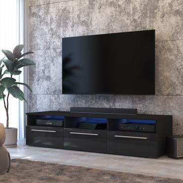 meuble tv lavello 140 cm noir mat noir brillant led inclus s99444746