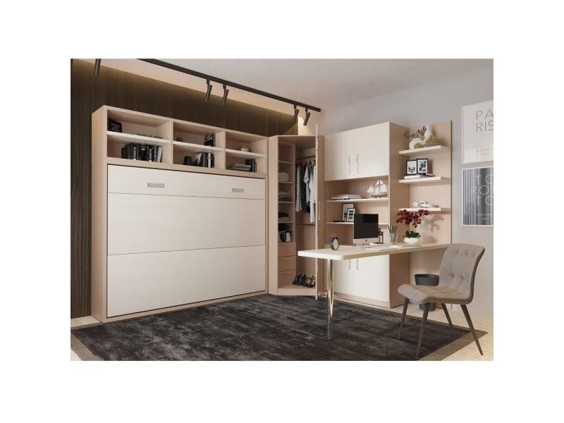 composition armoire lit transversale skyros 140 x 200 cm avec rangements et bureau integre 20100892640