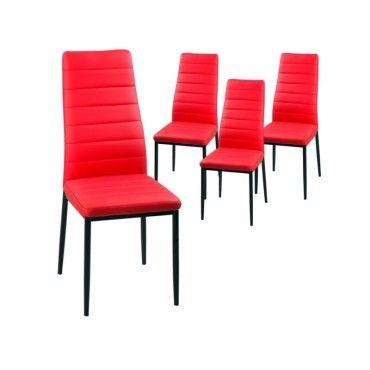 lot de 4 chaises rouge iris m24531993