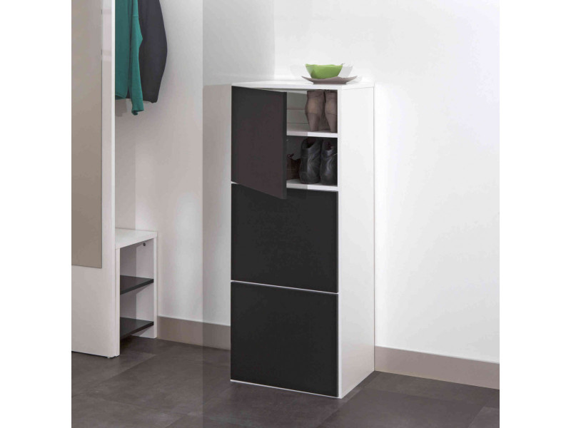 meuble chaussures coloris noir et blanc 15 paires mc6014