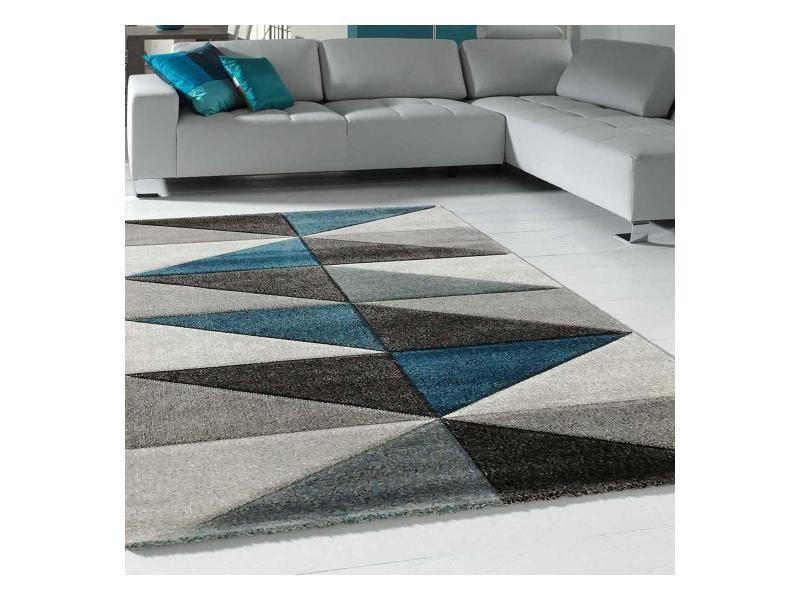 tapis design et moderne 120x170 cm rectangulaire valag bleu salon adapte au chauffage par le sol
