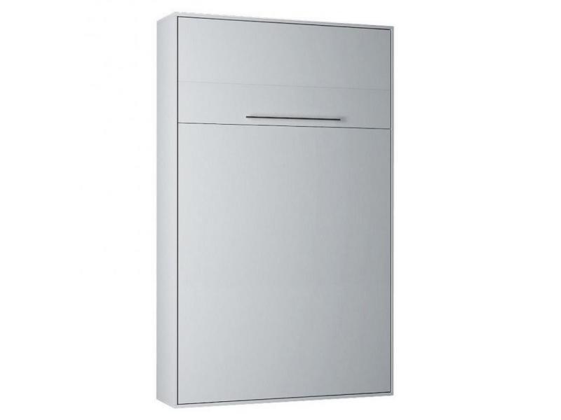 armoire lit escamotable kompact ouverture assistee coloris blanc mat couchage 140 200 cm