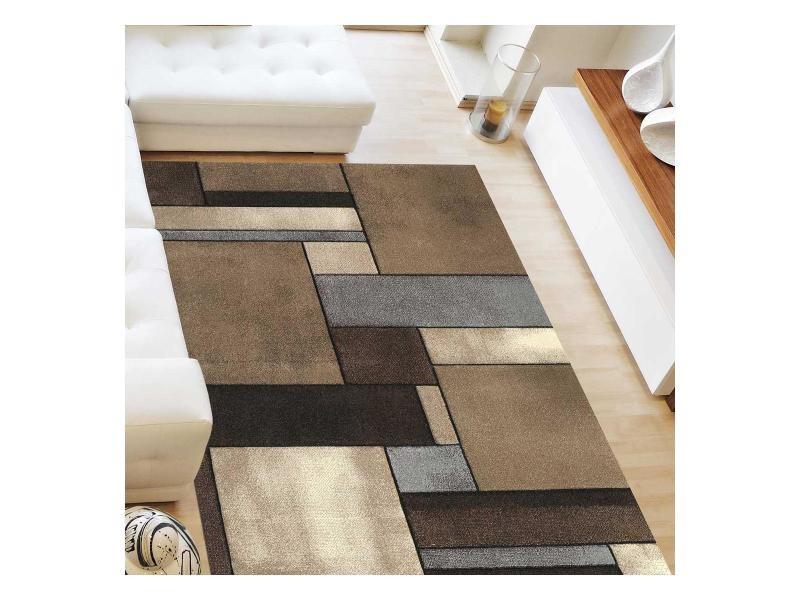 tapis design et moderne 160x230 cm rectangulaire brillance geometrique beige salon adapte au chauffage par le sol