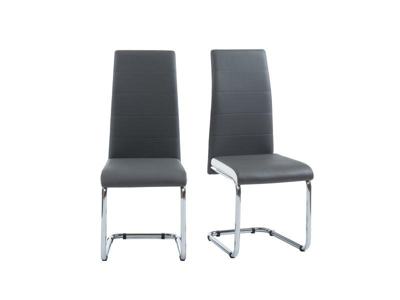 mara lot de 2 chaises de salle a manger style contemporain simili gris et blanc