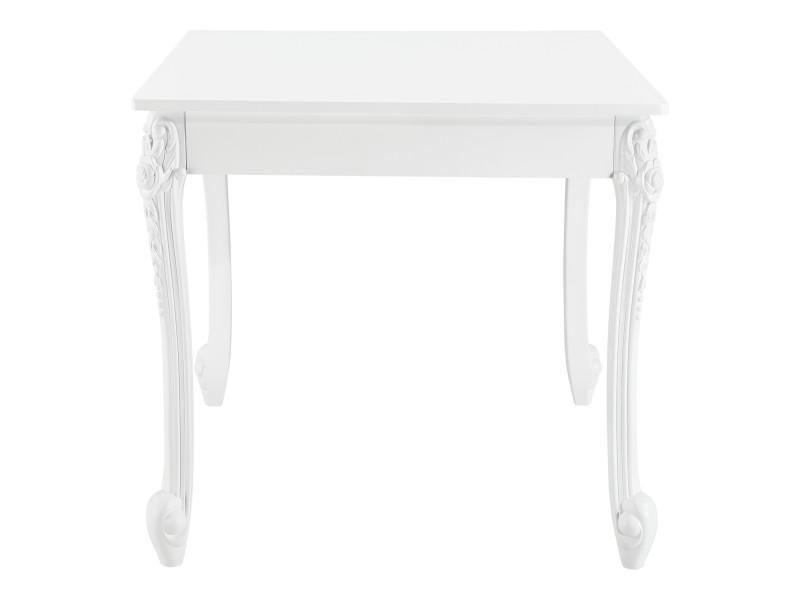 table de salle a manger carree design elegant pour 2 personnes mdf plastique 80 x 80 x 76 cm blanc en casa