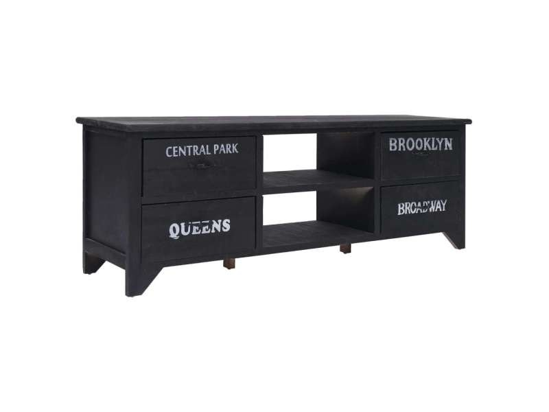 magnifique meubles famille kiev meuble tv noir 115 x 30 x 40 cm bois