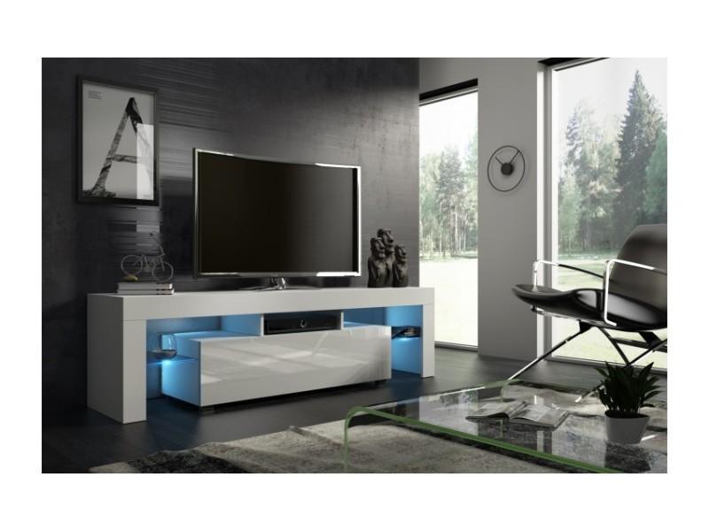 meuble tv 160 cm blanc mat et facade laquee avec led