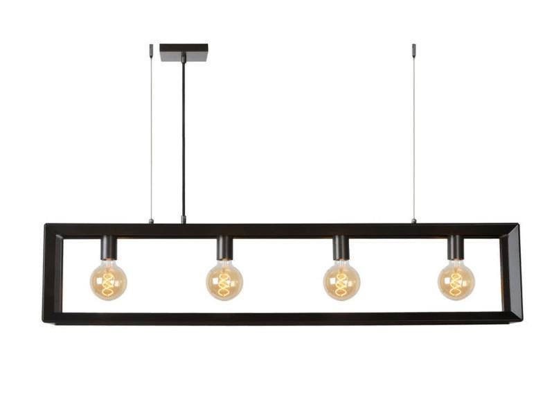 suspension barre 4 lumieres en metal longueur 120cm thor gris gris conforama