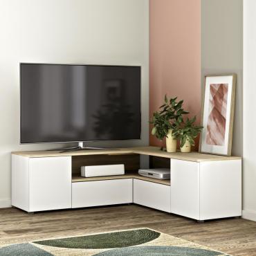 meuble tv angle 130 blanc et chene
