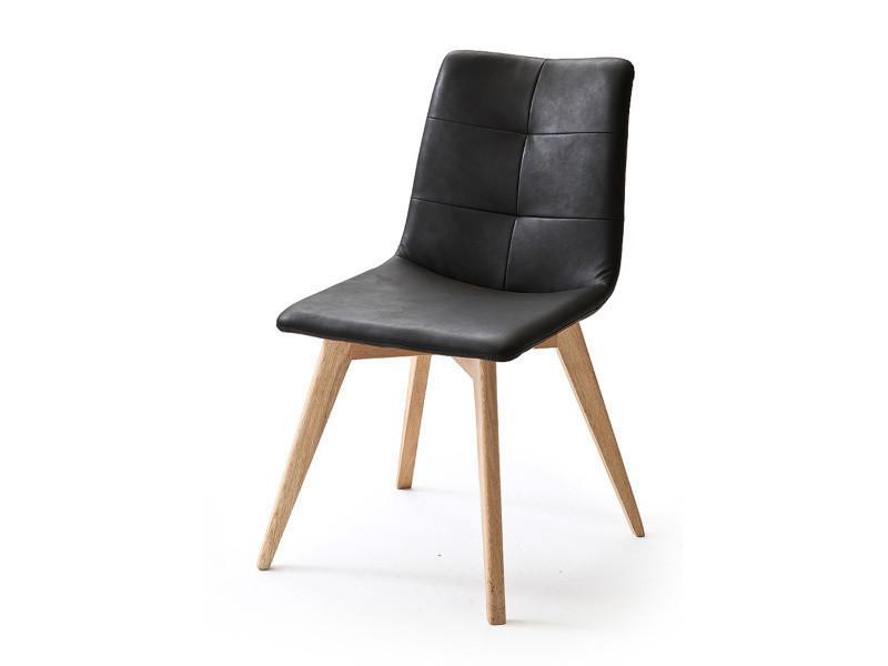 chaise avec coutures en pu double piqure coloris noir brillant satine ovales chene huile pegane