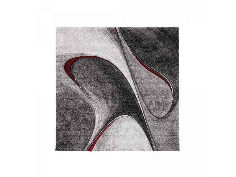 tapis design et moderne 200x200 carre cm carre madila rouge salon adapte au chauffage par le sol